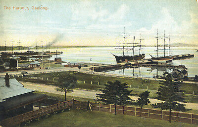 Postcard - The Harbour, Geelong, Victoria, Australia. C1910.