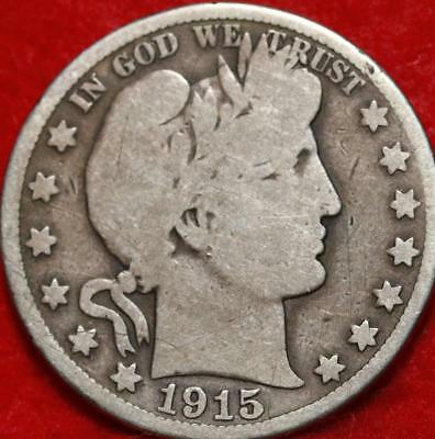 1915-S San Francisco Mint Silver Barber Half Dollar Free Shipping!