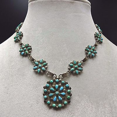 Old ZUNI Sterling Silver & TURQUOISE Petit Point Cluster NECKLACE circa 1930s
