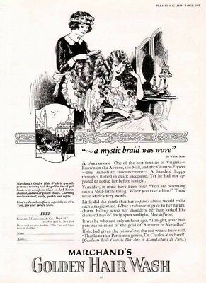 1925 Marchand's Golden Hair Wash Beauty Vanity Paris Coiffeurs Fashion Ad 6059