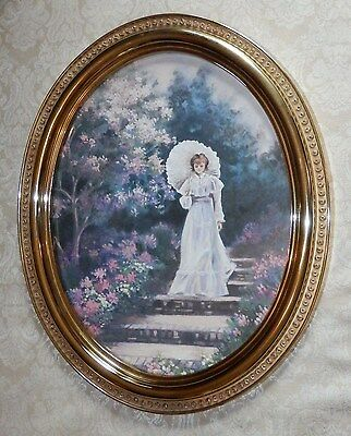 Vtg HOMCO Home Interior Victorian Girl Print in 23 x 19 Gold Oval Picture Frame