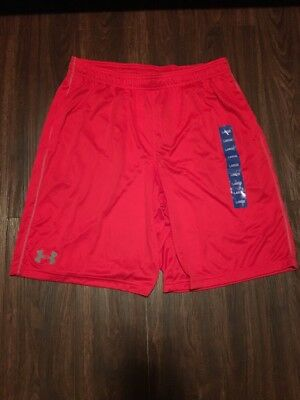 Under Armour Men's Running Shorts Heat Gear Loose Red Large