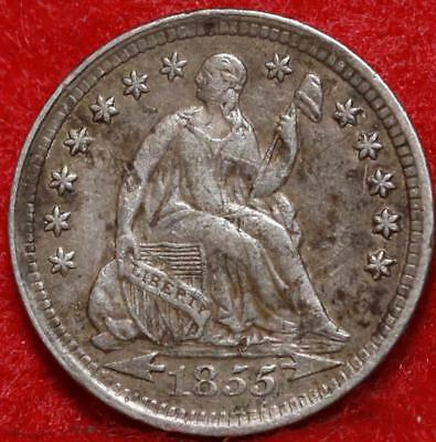 1855 with arrows Philadelphia Mint Silver Seated Liberty Half Dime Free S/H