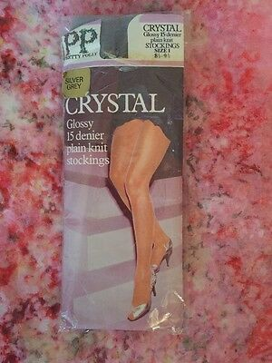 Ladies Vintage Retro Nylon 15 D Stockings One Size Silver Grey By Pretty Polly
