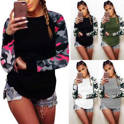 S-5XL Plus Size Women Camouflage Long Sleeve Ladies Casual T-Shirt Tops