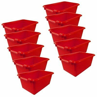 Scoop Baskets Bins & Containers Front Storage Bins, Red (10-Pack)