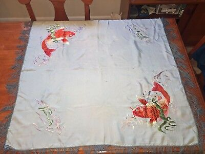 Vintage Japanese/Chinese HAND EMBROIDERED KOI SILK Piano Shawl 35 x 35 inches