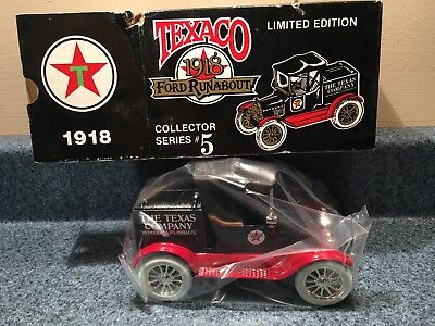 New Never Used  1988  Ertl Texaco 1918 Ford Runabout Coin Bank Die-Cast # 5 Mib