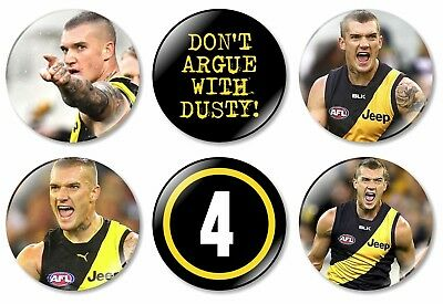 6 x Dustin Martin Richmond Tigers 32mm BUTTON PIN BADGES Football Dusty Badge