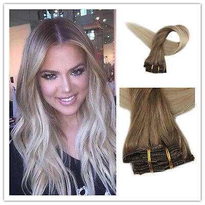 7pcs 50gClip in Remy Human Hair Extensions Ombre Balayage Blonde Color Ship USA
