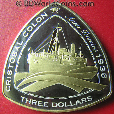 "2007 Bermuda $3 Silver Proof Gold Gilt ""cristobal Colon"" 1936 Shipwreck Coa Rare"