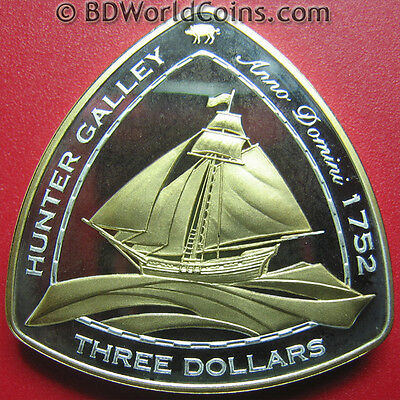 "2006 Bermuda $3 Silver Proof Gold Plated ""hunter Galley"" 1752 Shipwreck Coa Rare"