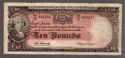 Commonwealth of Australia 1960 QEII Coombs/Wilson Ten Pounds Banknote R63