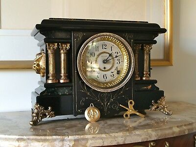 """""""TEXEL"""" S. THOMAS MANTEL CLOCK 1900s-EXCEL. WORKING COND.+FREE OILER AND LEVEL"""