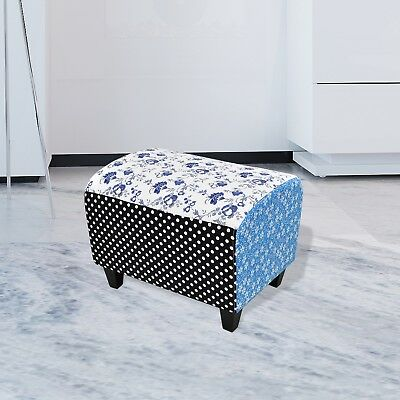 Patchwork Foot Stool Footrest Ottoman Seat Footstool Blue Chair Bedside Retro