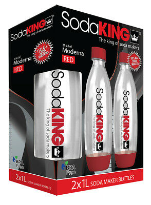 SodaKING Moderna Bottles Twin Pack - Red - 612217