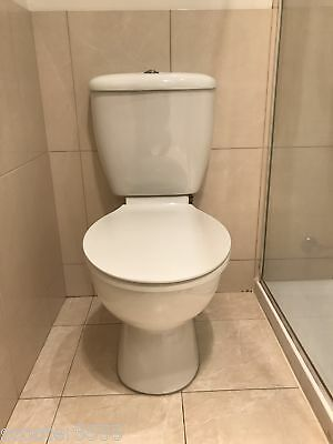White Ceramic Toilet Suite -Dual Flush-Back To Wall- S Trap - With Tap -Brighton