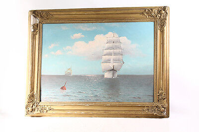 Beautiful Age Picture Frame Wood with Painting Stuck