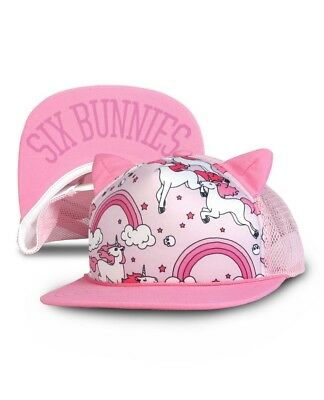 Six Bunnies Rainbows Pink Cap With Ears Toddler Kids Unicorn Trucker Hat Cool