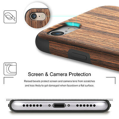 For Apple iPhone X 7 / 8 Plus Real Wood Wooden Slim Fit Hybrid TPU Case Cover