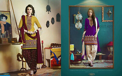 COLOORED FABULOUS COTTON UNSTITCHED SALWAR SUIT WITH CHIFFON DUPATTA   4t