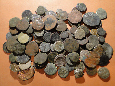 10 Assorted very Low Grade AE4 Roman Bronze Coins.