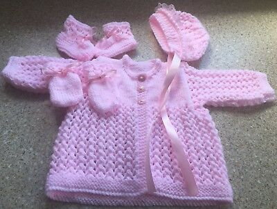 New Handknitted Pink Twinkle Wool 4 Piece Matinee Set 0-3months