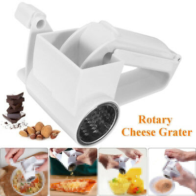 White Hand Rotary Cheese Grater Slicer Hard Chocolate Nuts Kitchen Tool Gadget
