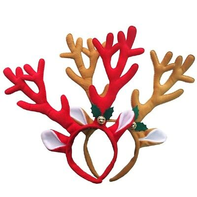Christmas Deluxe Reindeer Antlers With Bell Headband Fun Santa Party Accessories