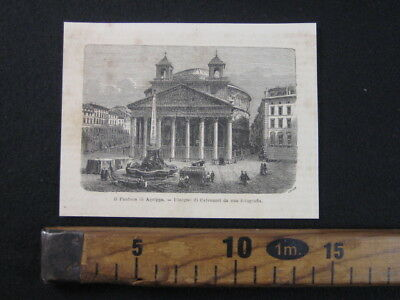 1868 Roma Pantheon Agrippa Chiese Impero Romano Rome Antica Stampa Engraving A8