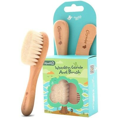 Baby Goat Hair Brush and Comb Set for Newborns Toddlers | Eco-Friendly Safe New