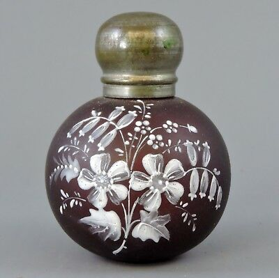 Charming antique ruby glass hand painted scent bottle
