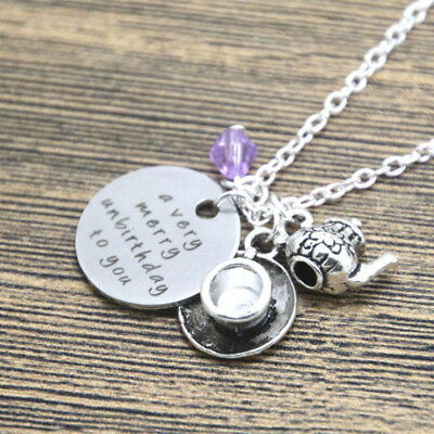A Very Merry Unbirthday To You Mad Hatter Charms Necklace Alice In Wonderland