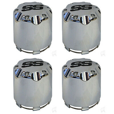 10L0L Chrome SS Center Caps Cover for Golf Cart Wheel Push in Style Pack of 4