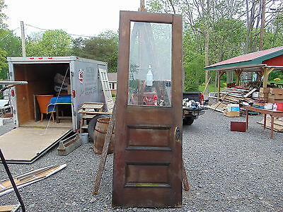 """Early Antique Tall Victorian Bevel-Glass Front Door Size 99"""" X 34"""""""