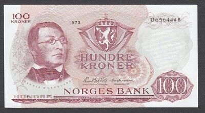 100 Kroner From Norway 1973 A5 Unc