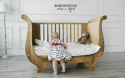 Luxury Cot Bed, Solid oak wood, Nursery furniture, Safety certified, Stylish