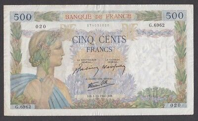 500 Francs From France 1942 A5 XF+
