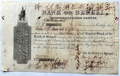 India 1867 Bank of Bengal share certificate