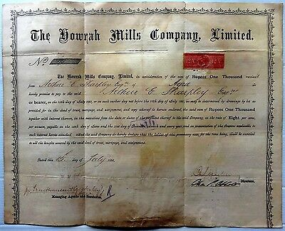 India 1876 THE HOWRAH MILLS debenture certificate
