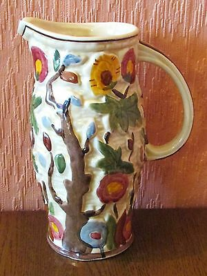"H J Wood 8 inch Hand-painted, Heavily-embossed Jug in ""Indian Tree"" Design."