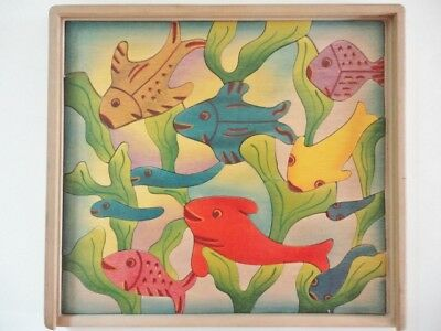 Vintage Children's Wooden Jigsaw Puzzle, 10 Fish, 49 pieces with Tray