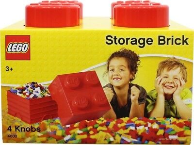 NEW LEGO Storage Brick Red - 4 Knob from Mr Toys