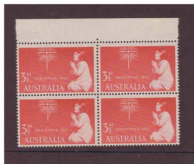 Australia 1957 Christmas SG298 block of 4 mint hinged  stamps