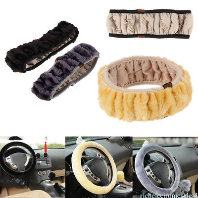 Black Yellow Grey Warm Fuzzy Car Steering Wheel Cover Grips Auto Plush Winter