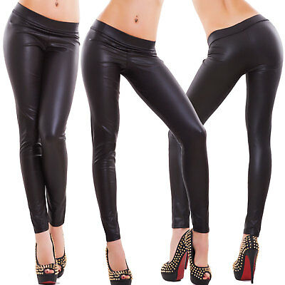 Leggings donna pantaloni effetto pelle leggins liquid fuseaux aderenti hot Q51