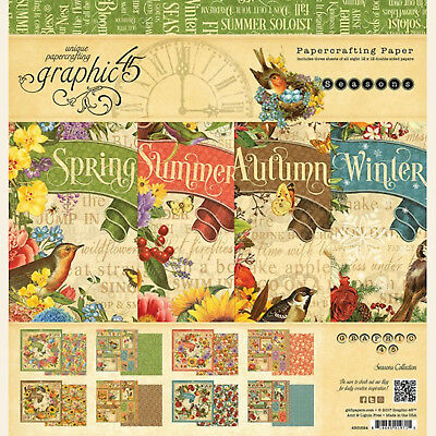 Graphic45 SEASONS 12x12 PAPER PAD scrapbooking (24) SHEETS