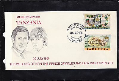 Tanzania 179-80 FDC ROYAL WEDDING 1981 LADY DIANA AUFDRUCK OVERPRINT EAST AFRICA