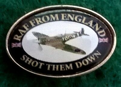 RAF From England Shot Them Down oval small button Pin Badge