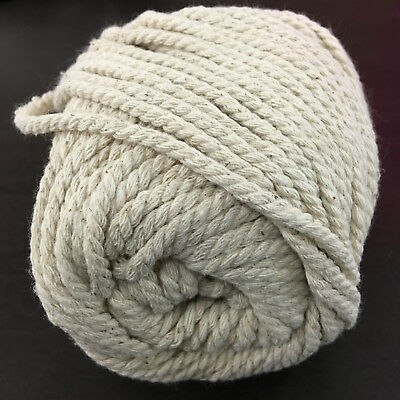 DARK CREAM Macrame Cotton Rope - 3-4mm thick 3 ply for wall art/hangers/looms